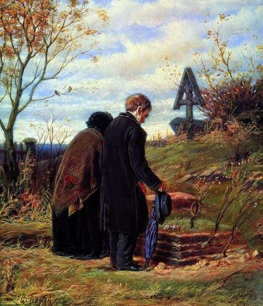 Description of the painting by Vasily Perov Old parents at the grave of his son