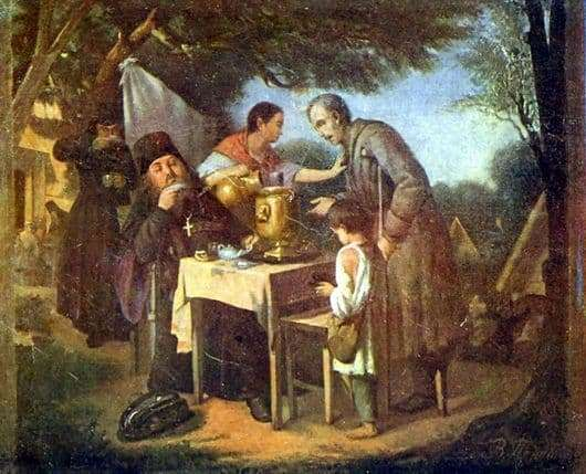 Description of the painting by Vasily Perov Tea drinking in Mytishchi, near Moscow
