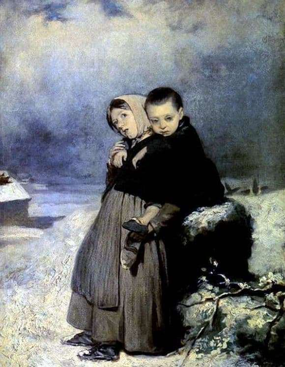 Description of the painting by Vasily Perov Orphaned children in the cemetery