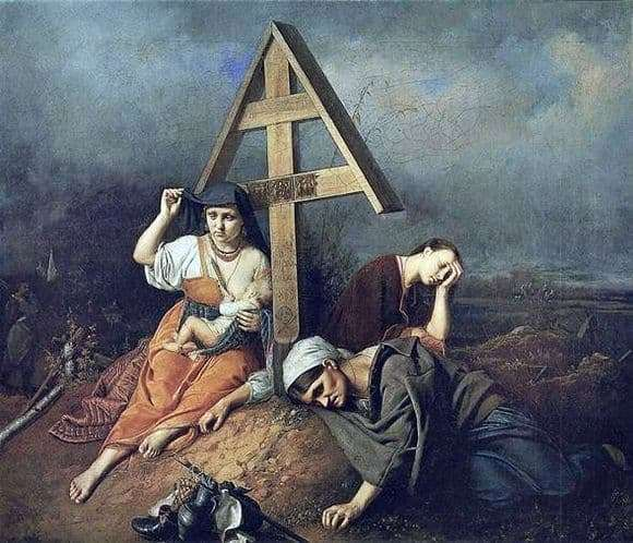 Description of the painting by Vasily Perov The scene on the grave