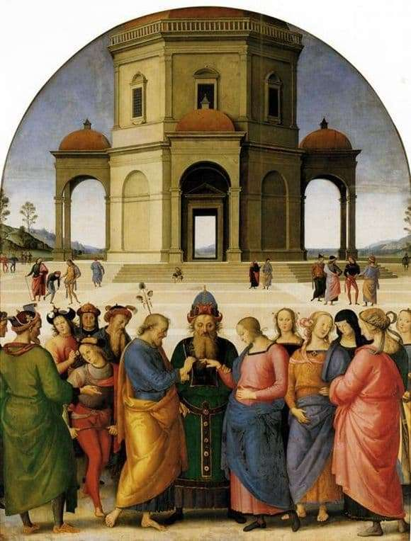Description of the painting by Pietro Perugino Marias betrothal