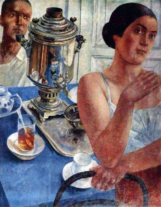 Description of the painting by Kuzma Petrov Vodkin Behind the samovar