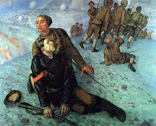 Description of the painting by Kuzma Petrov Vodkin Death of the Commissioner