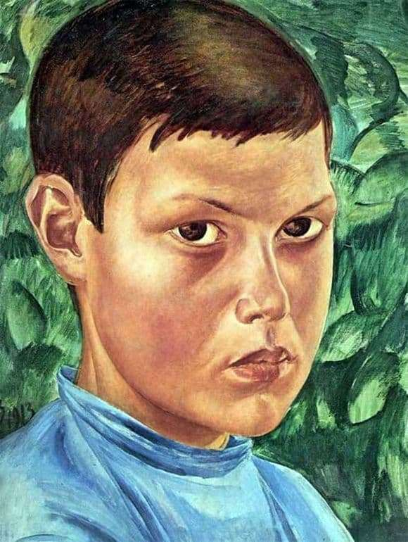 Description of the painting by Kuzma Petrov Vodkin Portrait of a Boy