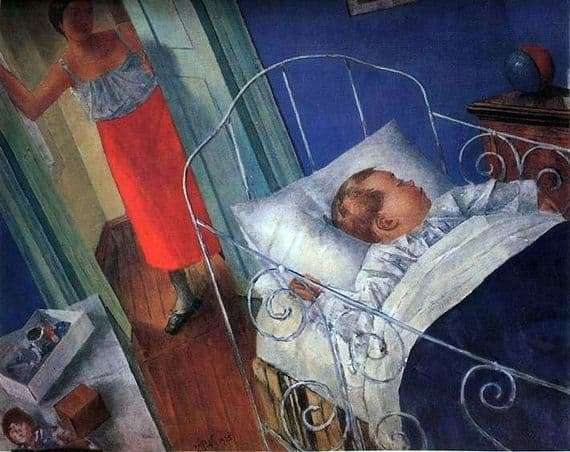 Description of the painting by Kuzma Petrov Vodkin In the nursery