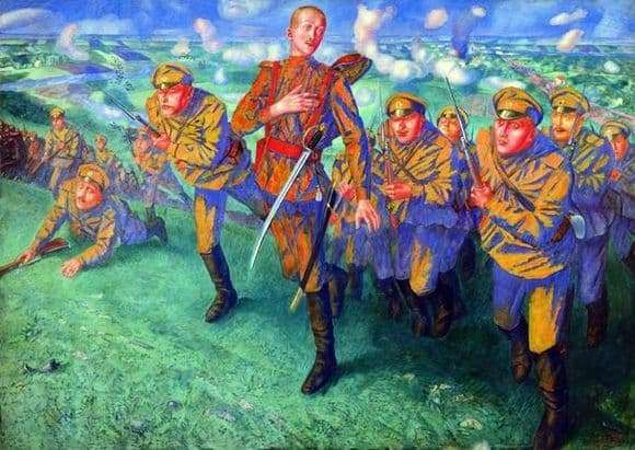 Description of the painting by Kuzma Petrov Vodkin In the line of fire