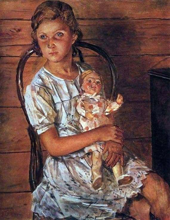 Description of the painting by Kuzma Petrov Vodkin Girl with a doll