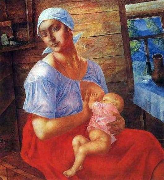 Description of the painting by Kuzma Petrov Vodkin Mother