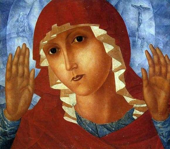 Description of the painting by Kuzma Petrov Vodkin Virgin of tenderness of evil hearts