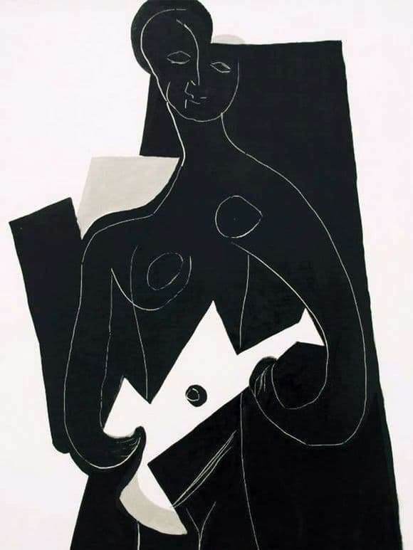Description of the painting by Pablo Picasso Woman with a guitar