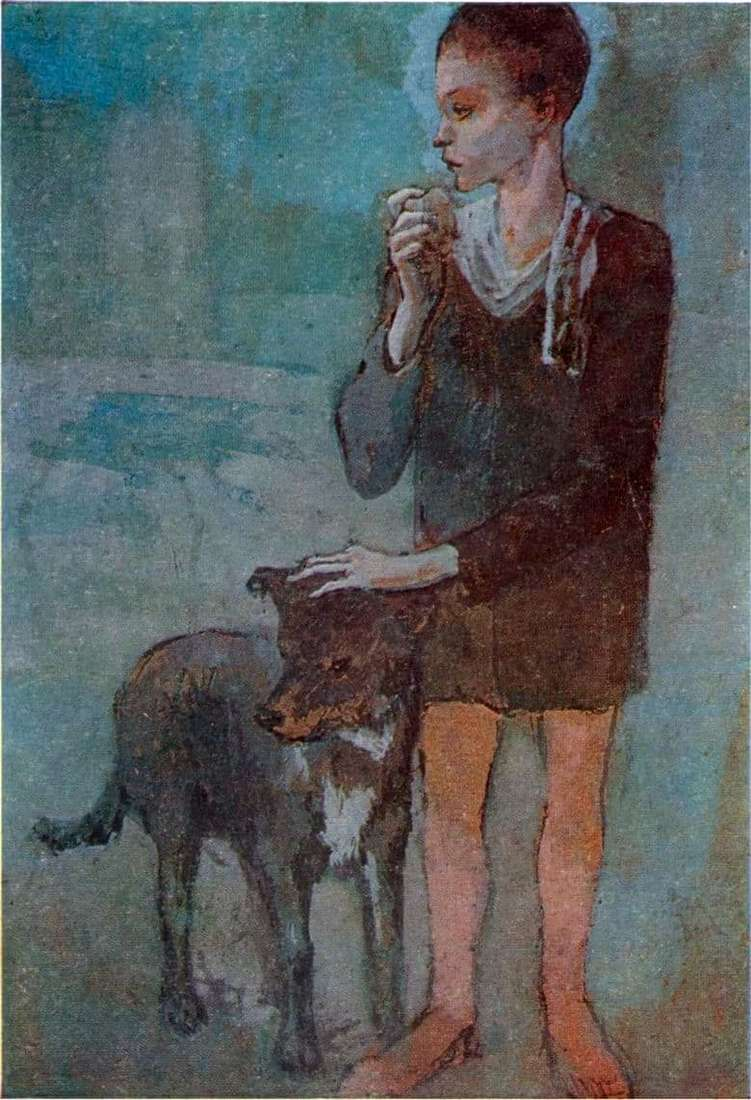 Description of the painting by Pablo Picasso Boy with a dog