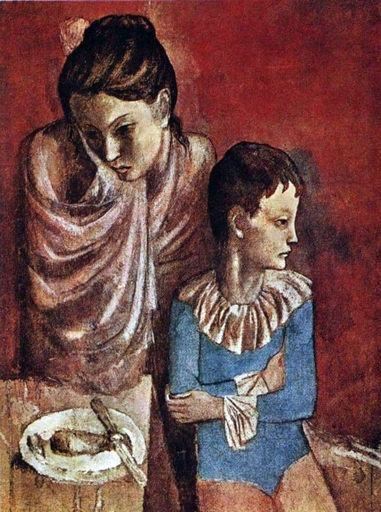 Description of the painting by Pablo Picasso Acrobats mother and son