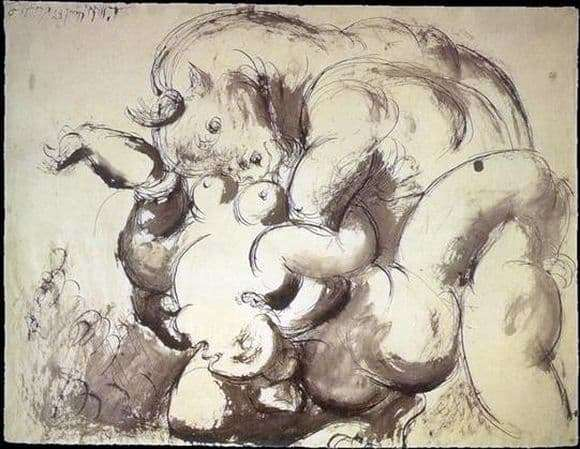 Description of the painting by Pablo Picasso Minotaur