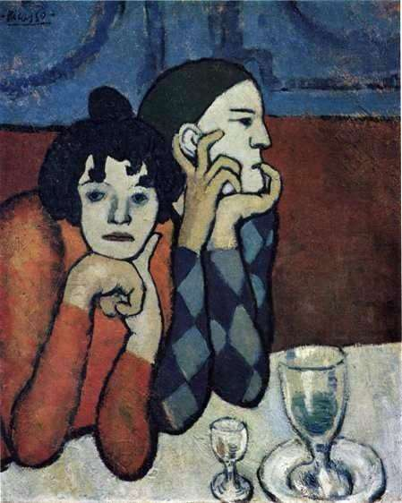 Description of the painting by Pablo Picasso Harlequin and his girlfriend