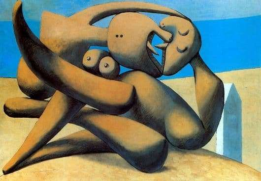 Description of the painting by Pablo Picasso Figures on the beach (kiss)