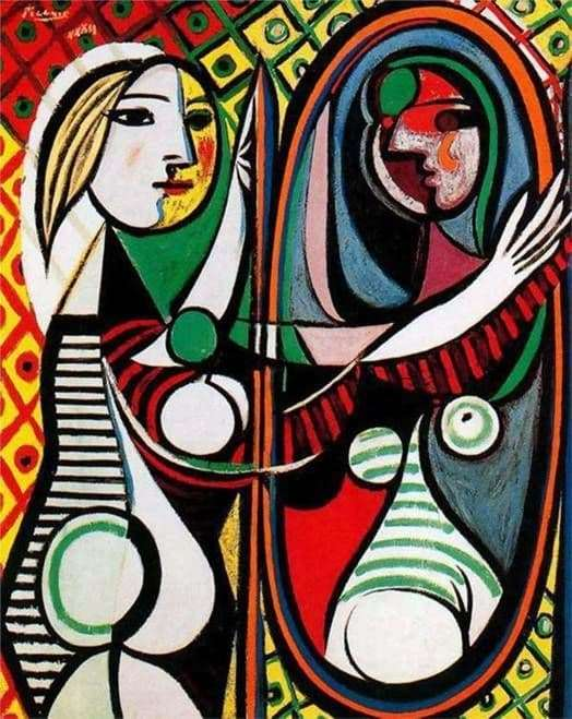 Description of the painting by Pablo Picasso The girl in front of the mirror