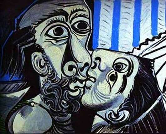 Description of the painting by Pablo Picasso Kiss