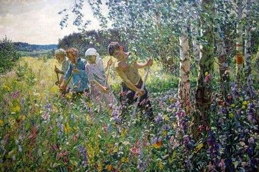 Description of the painting by Arkady Plastov Haymaking
