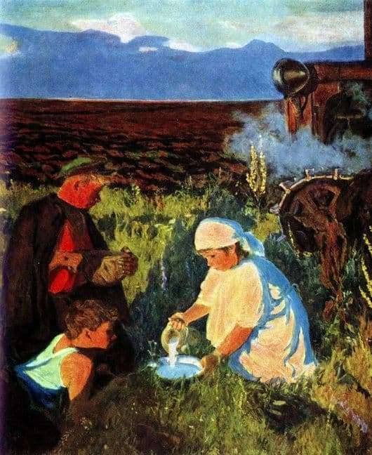 Description of the painting by Arkady Plastov Dinner tractor