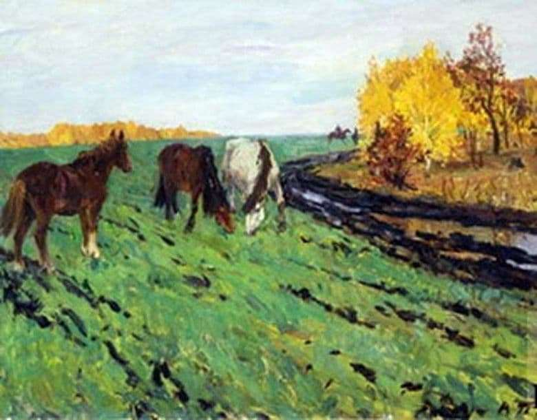 Description of the painting by Arkady Plastov Autumn