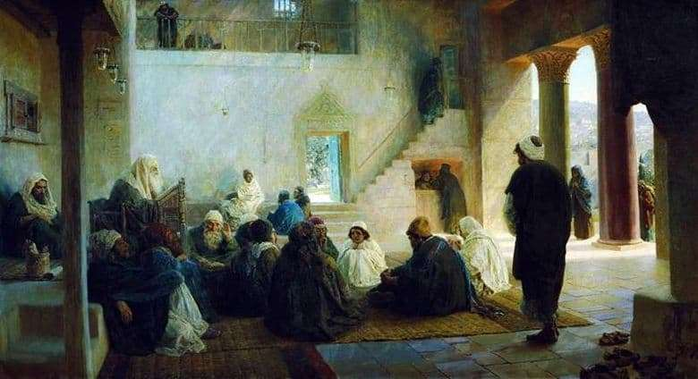 Description of the painting by Vasily Polenov Among the teachers