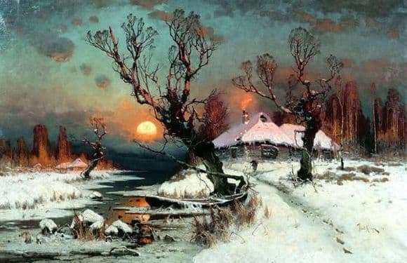 Description of the painting by Julius Klever Sunset in winter
