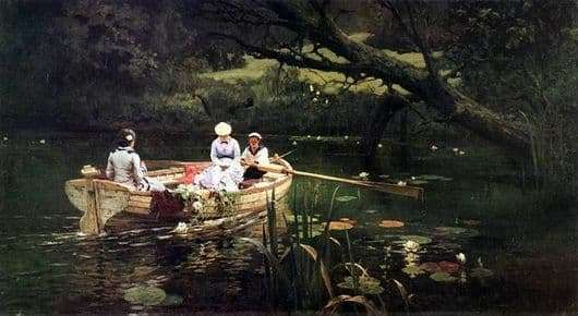 Description paintings Vasily Polenov On the boat. Abramtsevo