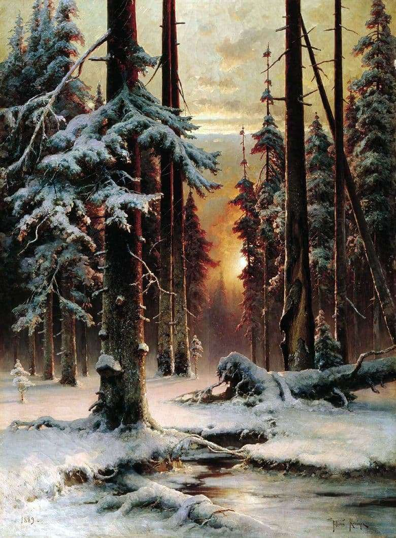 Description of the painting by Julius Klever Winter sunset in the fir forest