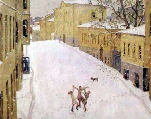 Description of the painting by Nikolai Popov First Snow