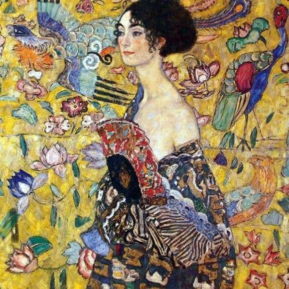 Description of the painting by Gustav Klimt Lady with a Fan