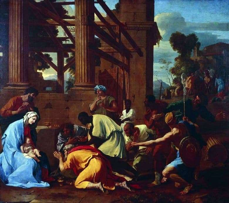 Description of the painting by Nicolas Poussin Adoration of the Magi