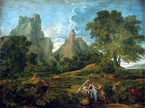 Description of the painting by Nicolas Poussin Landscape with Polyphemus