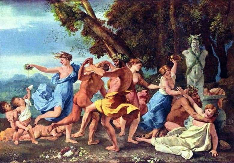 Description of the painting by Nicolas Poussin Bacchanalia
