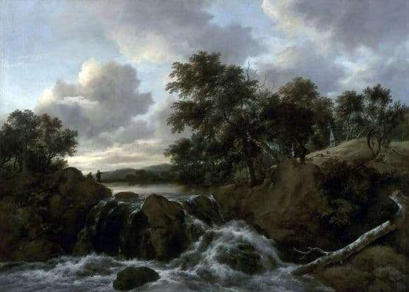 Description of the painting by Jacob Isaac Ruisdael Landscape with a waterfall