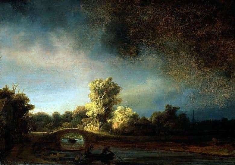 Description of the painting by Rembrandt Harmens van Rijn Landscape with a stone bridge