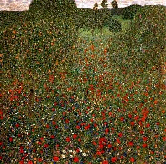 Description of the painting by Gustav Klimt Poppy field