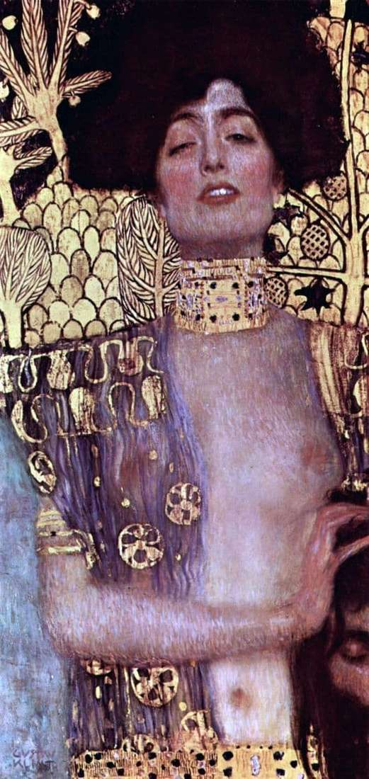 Description of the painting by Gustav Klimt Judith with the head of Holofernes