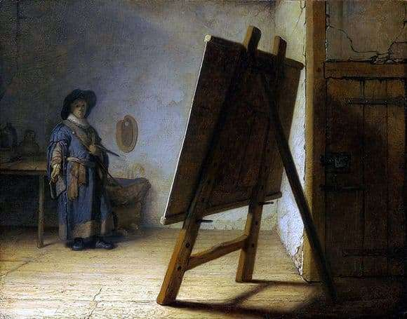 Description of the painting by Rembrandt Harmens Van Rijn Artist in the workshop (1628)