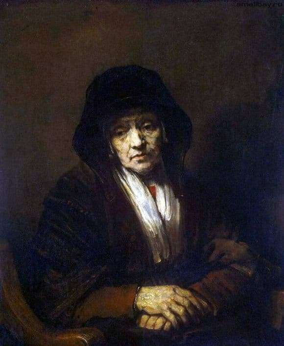 Description of the painting by Rembrandt Harmens van Rijn Portrait of an old woman