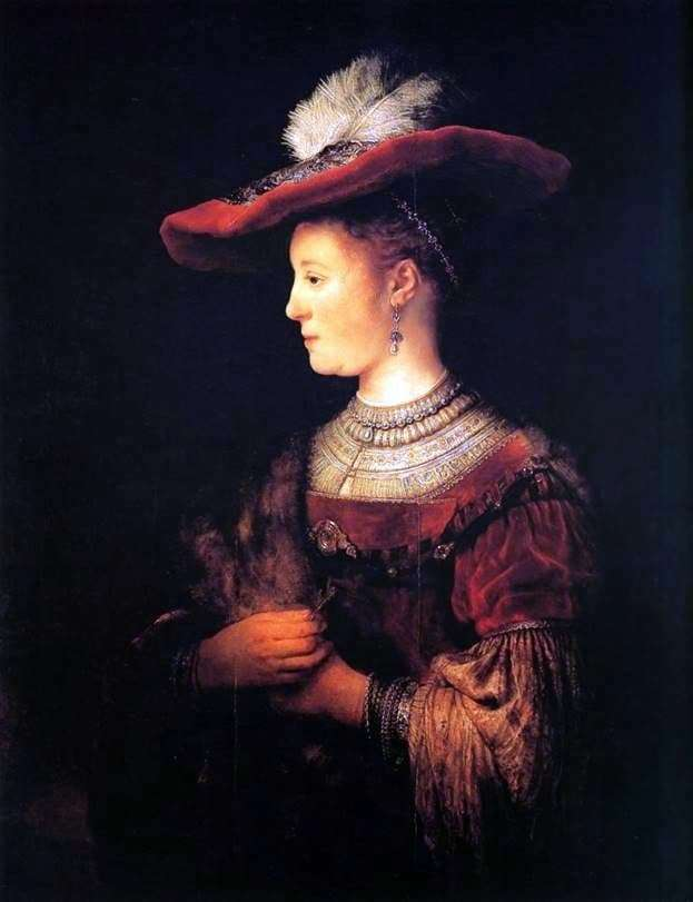 Description of the painting by Rembrandt Harmens Van Rijn Portrait of Saskia in a red hat