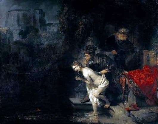 Description of the painting by Rembrandt Harmens vann Rijn Susanna and the Elders