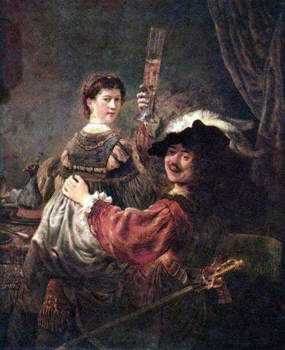 Description of the painting by Rembrandt Harmens van Rijn Self portrait with Saskia