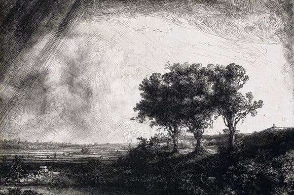 Description of the painting by Rembrandt Harmensz van Rijn Three Trees