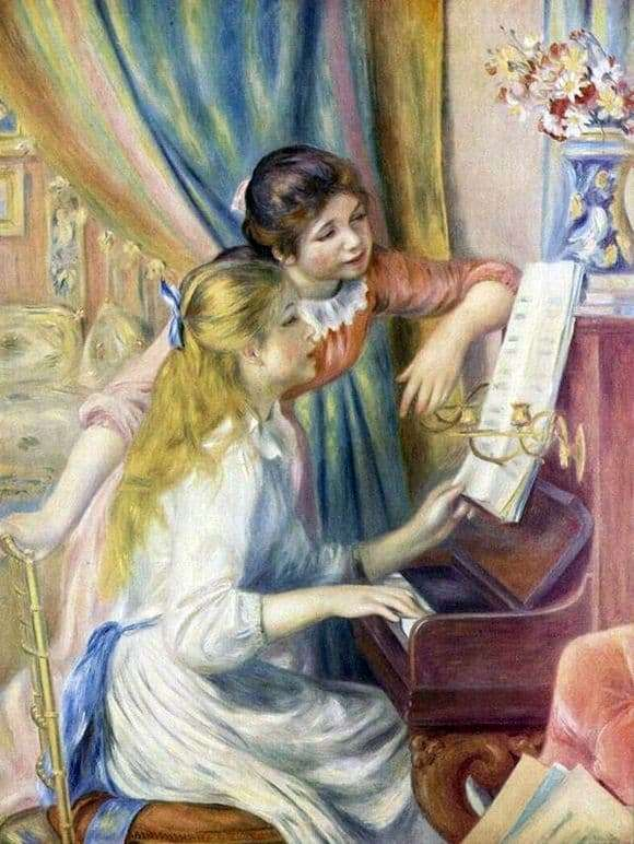 Description of the painting by Pierre Auguste Renoir Girls at the piano