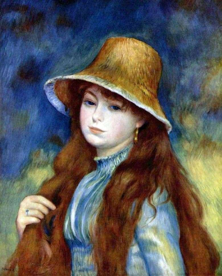 Description of the painting by Pierre Auguste Renoir Girl in a straw hat