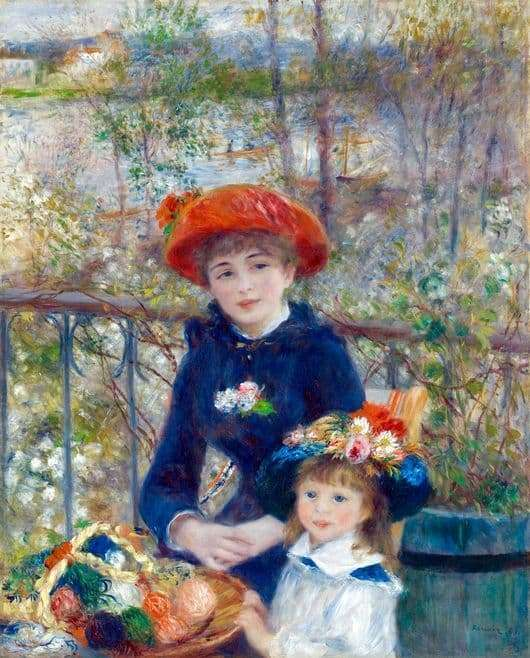 Description of the painting by Pierre Auguste Renoir On the Terrace (Two Sisters)
