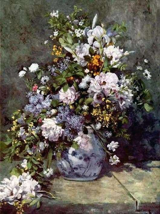 Description of the painting by Pierre Auguste Renoir Vase with flowers (Spring bouquet)