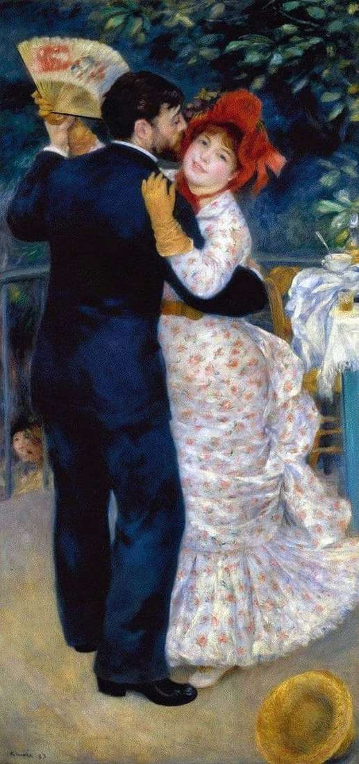 Description of the painting by Pierre Auguste Renoir Dance in the Village