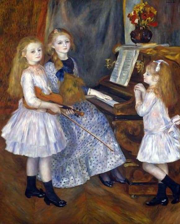 Description of the painting by Pierre Auguste Renoir Daughters of Catullus Mendes at the piano