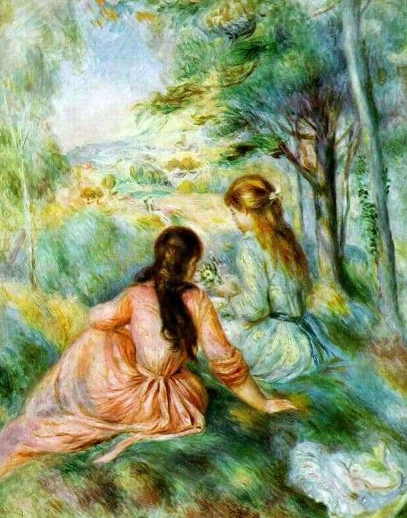Description of the painting by Pierre Auguste Renoir In the meadow